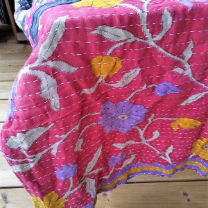 Vintage kantha peitto oranssi